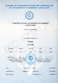 Polish language ECL certificate for foreigners